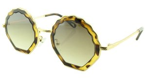 Óculos Solar Feminino Primeira Linha T25 Marrom Onça e Dourado