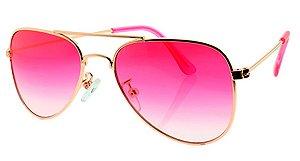 Óculos Solar Unissex Aviador A Rosa Degradê