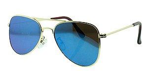 Óculos Solar Unissex Aviador A Azul Espelhado