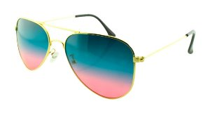 Óculos Solar Unissex Aviador A Verde e Rosa Degradê