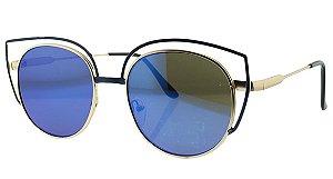 Óculos Solar Feminino NY8964 Azul Espelhado