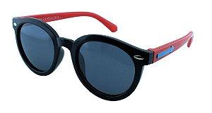 Óculos Solar Infantil Polarizado em Nylon Flexível T1508 Preto e Vermelho