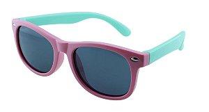 Óculos Solar Infantil Polarizado em Nylon Flexível T1648 Rosa e Verde