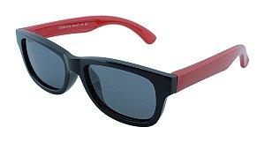 Óculos Solar Infantil Polarizado em Nylon Flexível T1510 Preto e Vermelho