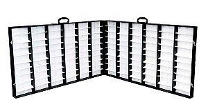 Maleta Expositora Dupla para 120 Óculos com Alça e Abertura Horizontal PDS2120C Preta