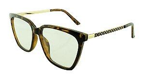 Armação para Óculos de Grau Feminino TR7280 Marrom Onça