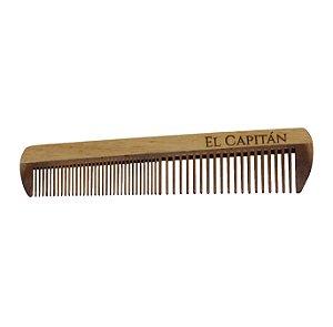 Pente para cabelo e barba formato grande em madeira El Capitán