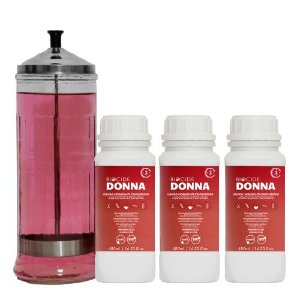 Kit  Jarro 1,2 litro, 3 Biocide Donna Líquido Higienizante Concentrado 480 ml - 1 ano de produto e 1 adesivo de Garantia de Biossegurança