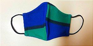 Máscara de tecido lavável camada dupla azul e verde Biocide