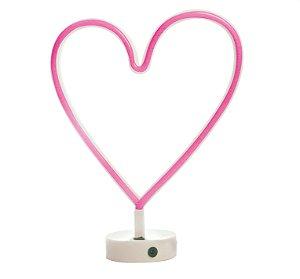 Luminária Silhueta Led Coração Rosa c/ 1 unidade