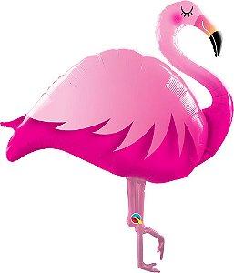 Balão Metalizado Flamingo Rosa 46 Polegadas 117 cm c/ 1 Unid