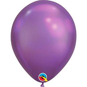 Balão Bexiga Látex Chrome Roxo 11 Polegadas c/10 unidades