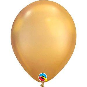 Balão Bexiga Látex Chrome Ouro 11 Polegadas c/10 unidades