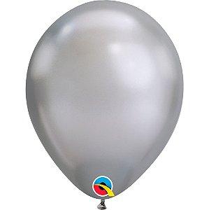 Balão Bexiga Látex Chrome Prata 11 Polegadas c/10 unidades