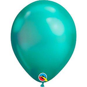 Balão Bexiga Látex Chrome Verde 11 Polegadas c/10 unidades
