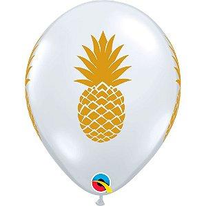 Balão Bexiga Látex Transparente Abacaxi 11 Polegadas c/10