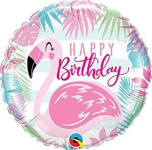 Balão Metalizado Birthday Flamingo 18 polegadas 46 cm c/1uni