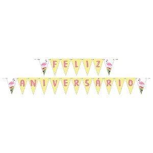 Faixa Feliz Aniversário Decoração Festa Tema Tropical c/ 1