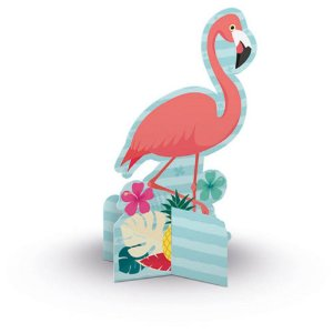 Enfeite de Mesa Decoração Festa Tema Flamingo c/ 6