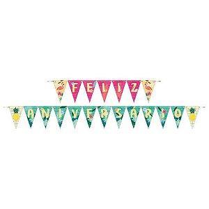 Faixa Feliz Aniversário Decoração Festa Tema Flamingo c/ 1
