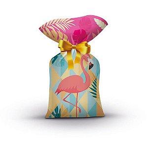 Sacola Plastica Decoração Festa Tema Flamingo c/ 8