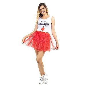 Saia Tutu Tule Carnaval Vermelha com Gliter Adulto