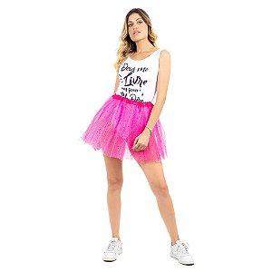 Saia Tutu Tule Carnaval Pink com Gliter Adulto