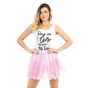 Saia Tutu Tule Carnaval Rosa com Gliter Adulto