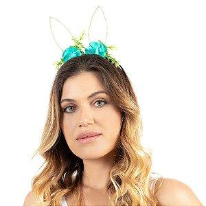 Tiara Carnaval Orelha e Flores