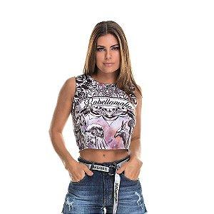 Blusa Cropped Labellamafia estampado - M