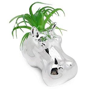 Vaso de Parede Cachepot Hipopótamo Prateado Porcelana