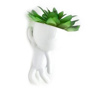 Vaso de Parede Cachepot Bob Homenzinho Branco MD2