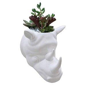 Vaso de Parede Cachepot Rinoceronte Branco Porcelana