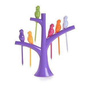 Pegador de Petiscos Passaros - Árvore Roxa