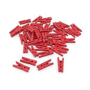 Mini Prendedor Madeira 2,5cm - 100 Unidades - Vermelho