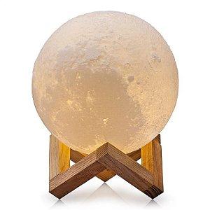 Luminária Lua Cheia 3D 15cm USB - Base Madeira - 3 Cores de Iluminação