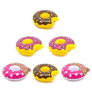 Kit 6 Bóia Porta Copos Donuts