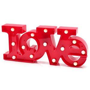Luminária Love Vermelho - Amor - Namorados