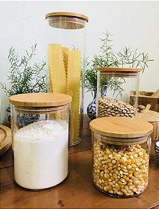 Conjunto c/ 04 Potes Hermetic de Vidro com Tampa de Bambu
