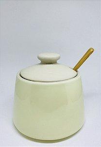 Pote de Porcelana com Tampa e Colher em Bambu Multiuso
