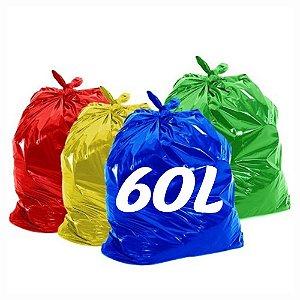Saco De Lixo 60lt Colorido