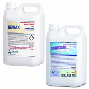 Kit Desengordurante Geral Dewax + Detergente Alcalino Clorado Sanitclean