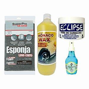 Kit Esponja + Shampoo + Cera Carnaúba + Aromatizante Carro Novo