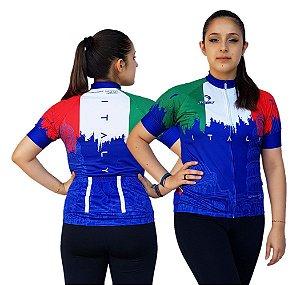 Camisa Ciclismo Sódbike Feminina Nações - Itália Azul