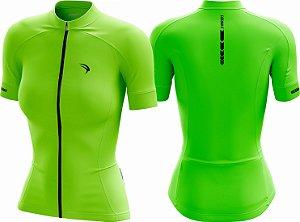 Camisa Cicloturismo Sódbike CLEAN Verde fluor - Feminina