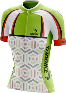 Camisa Ciclismo Square Verde e Laranja