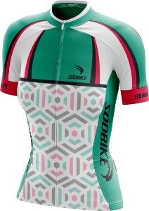 Camisa Ciclismo Square Verde e Rosa