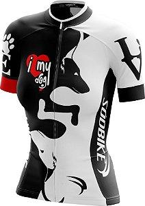 Camisa Ciclismo Feminina Love Dog's Branca