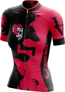 Camisa Ciclismo Feminina Love Dog's Rosa