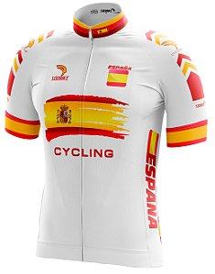 Camisa Ciclismo Espanha Branco